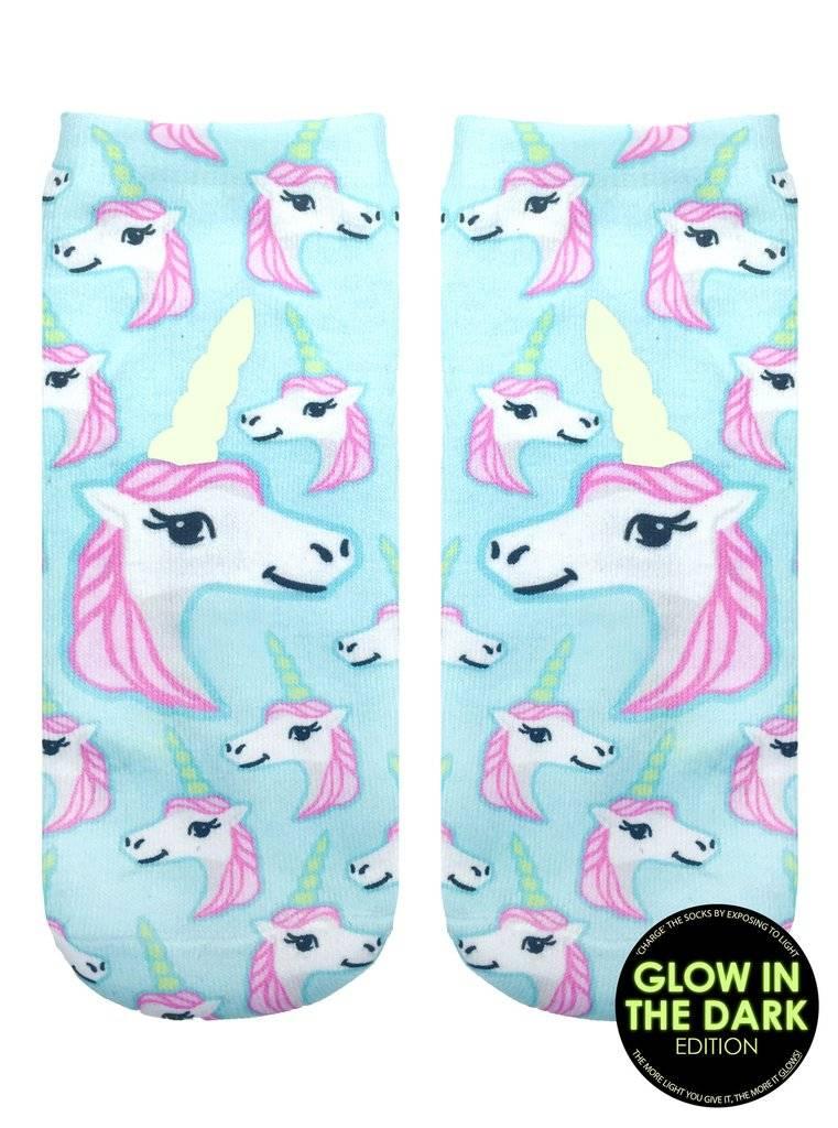Living Royal Glow In The Dark Pastel Unicorn Ankle Socks
