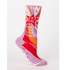 BlueQ I'm a Girl What's Your Superpower Crew Socks