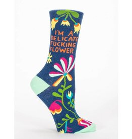 BlueQ I'm A Delicate Fucking Flower Crew Socks