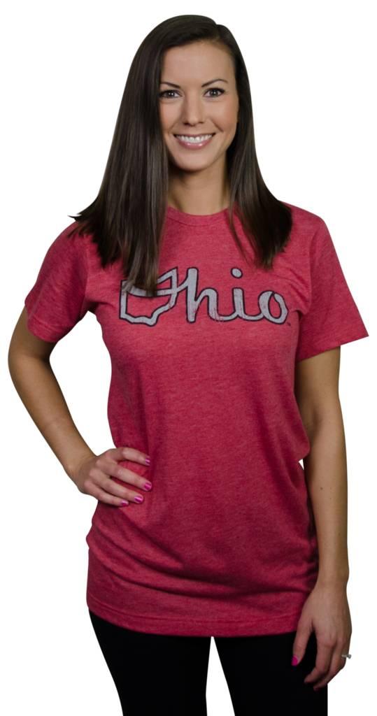 Be Ohio Proud Red Ohio Script Unisex T-Shirt