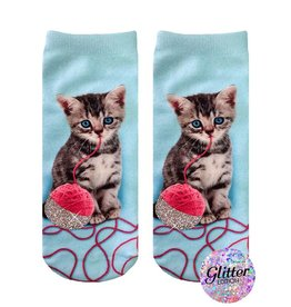 Living Royal Kitten and Yarn Glitter Ankle Socks