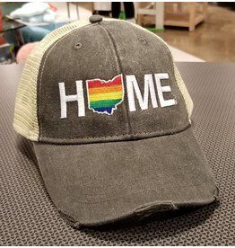 Be Ohio Proud Home Rainbow Hat Tan/Charcoal Mesh