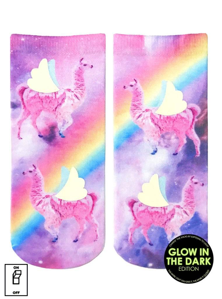 Living Royal Rainbow Llama Glow Ankle Socks DNR