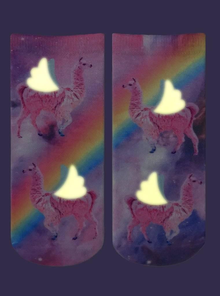 Living Royal Rainbow Llama Glow Ankle Socks