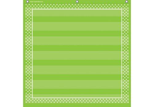 "Teacher Created Resources Lime Polka Dots 7 Pocket Chart (28"" x 28"")"
