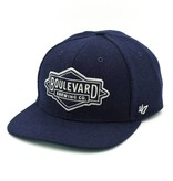 Navy Wool & Leather Hat
