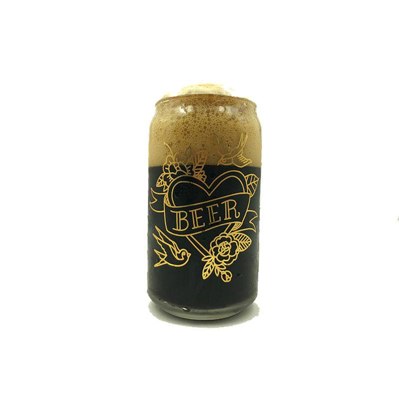 Tattoo Beer Can Glass