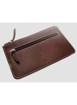 Uno de 50 Brown Leather 2 Zip Pouch - Uno de 50
