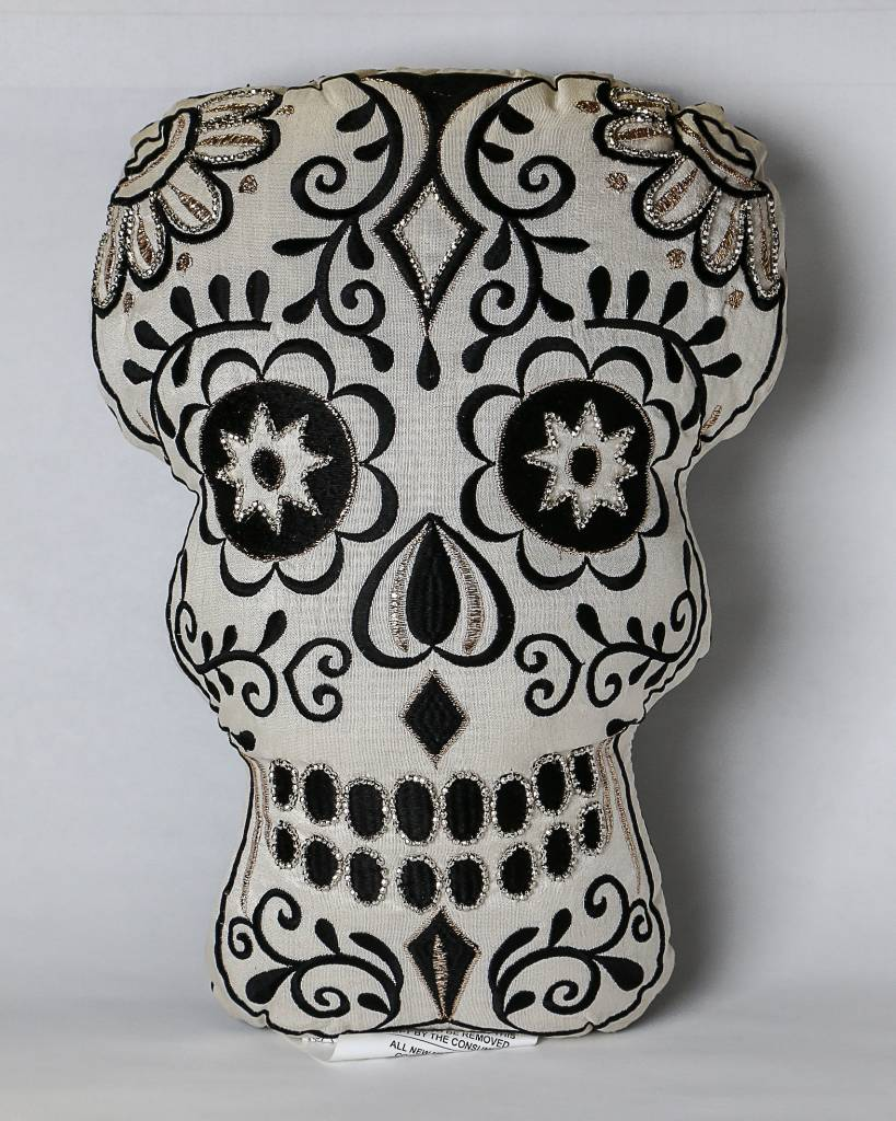 Two's Glam Skull Embroidered Pillow 81044-20