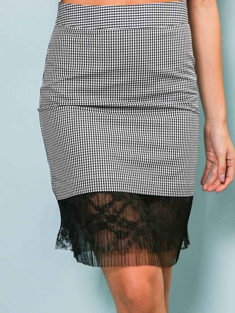 Gingham Lace Skirt A461K6F