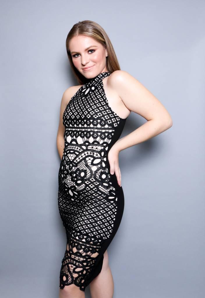 Crochet Lace Overlay Midi Dress - DRS8252