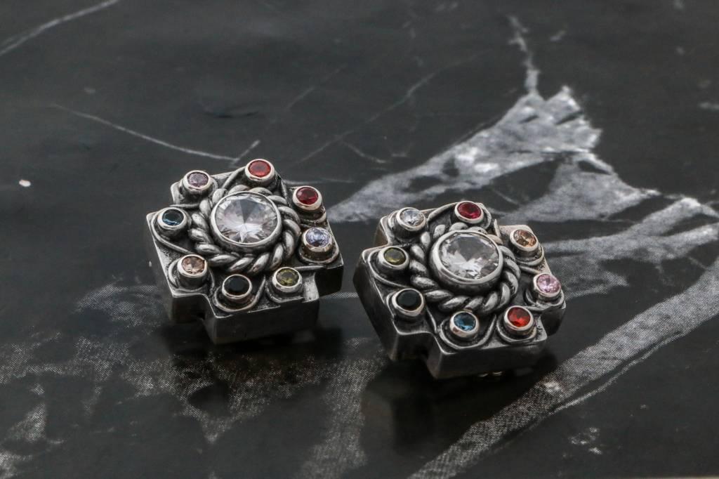 Earrings CAEAR066 - Earrings Crosses W/ Color