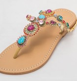 6377 - Multi - Colored JeweledSandals