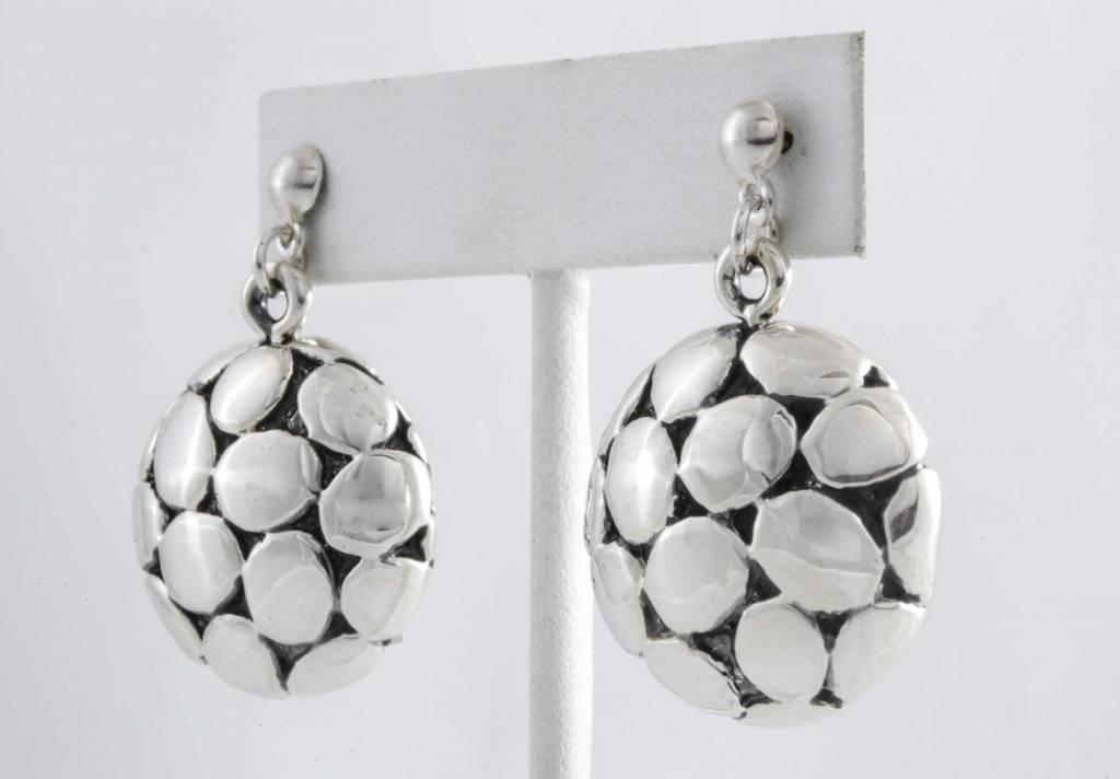 Earrings-SS / Round W / SilverDrops