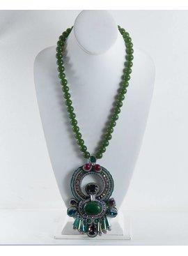 Zenzii Jewelry N1376GRN-BeadedNecklaceW/Rope/Pendant