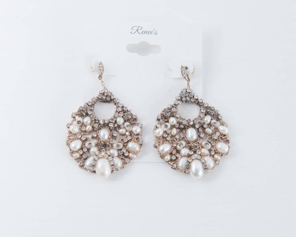 Theia Earrings 10386E0079-FloraPearlsSwarovskiEarringsAntiqueGold