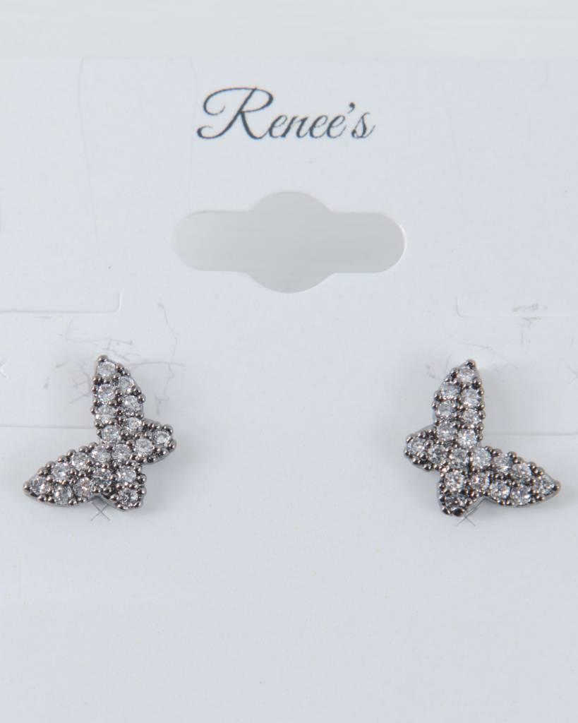 Theia Earrings 28908E0022-PapillionStudEarringsCZGunMetal