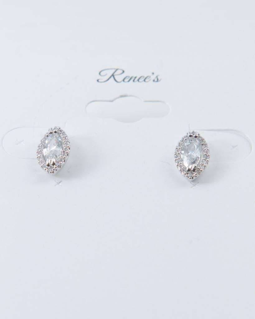 Theia Earrings 28727E0018-HaloMarquisCZStudEarringsWhiteGold