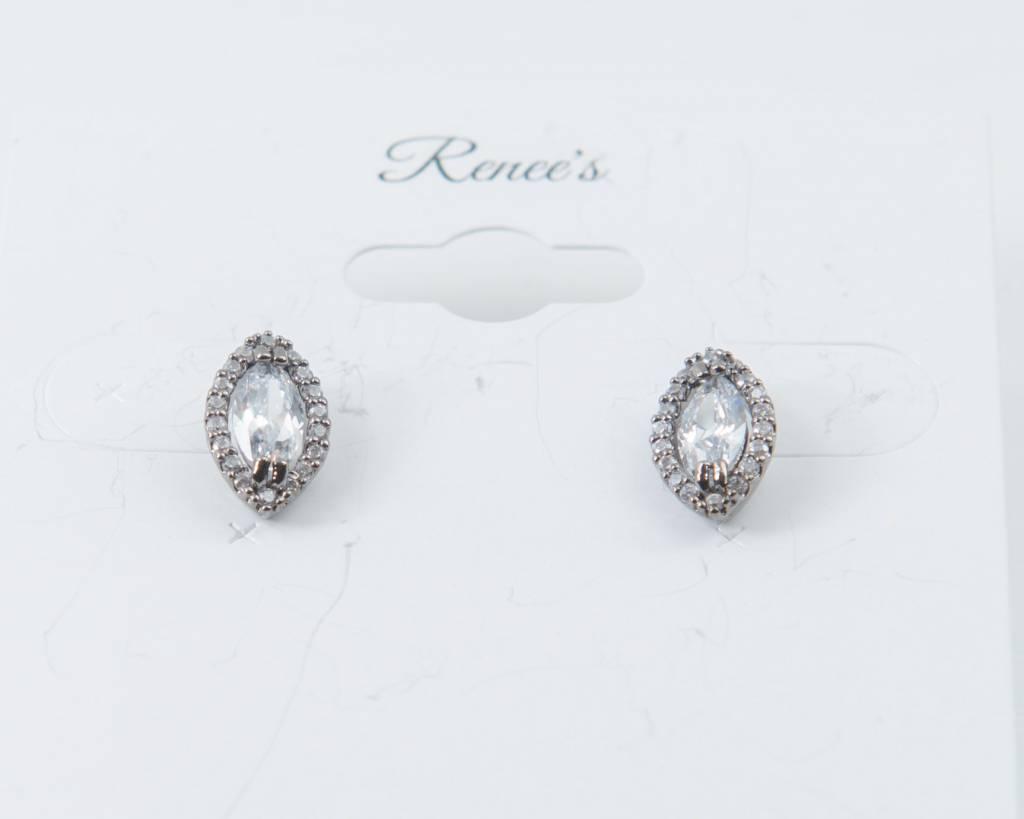 Theia Earrings 28728E0018-HaloMarquisCZStudEarringsGunMetal