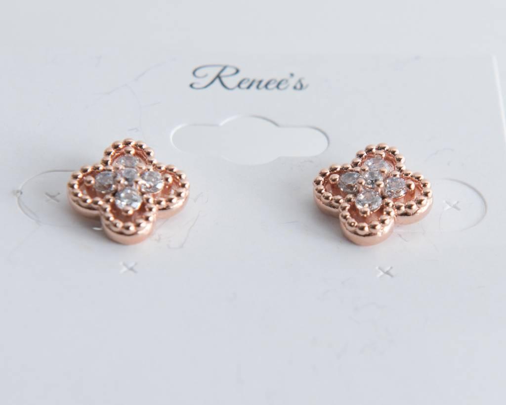 Theia Earrings 26334E0038-CloverCZStudEarringsRoseGold