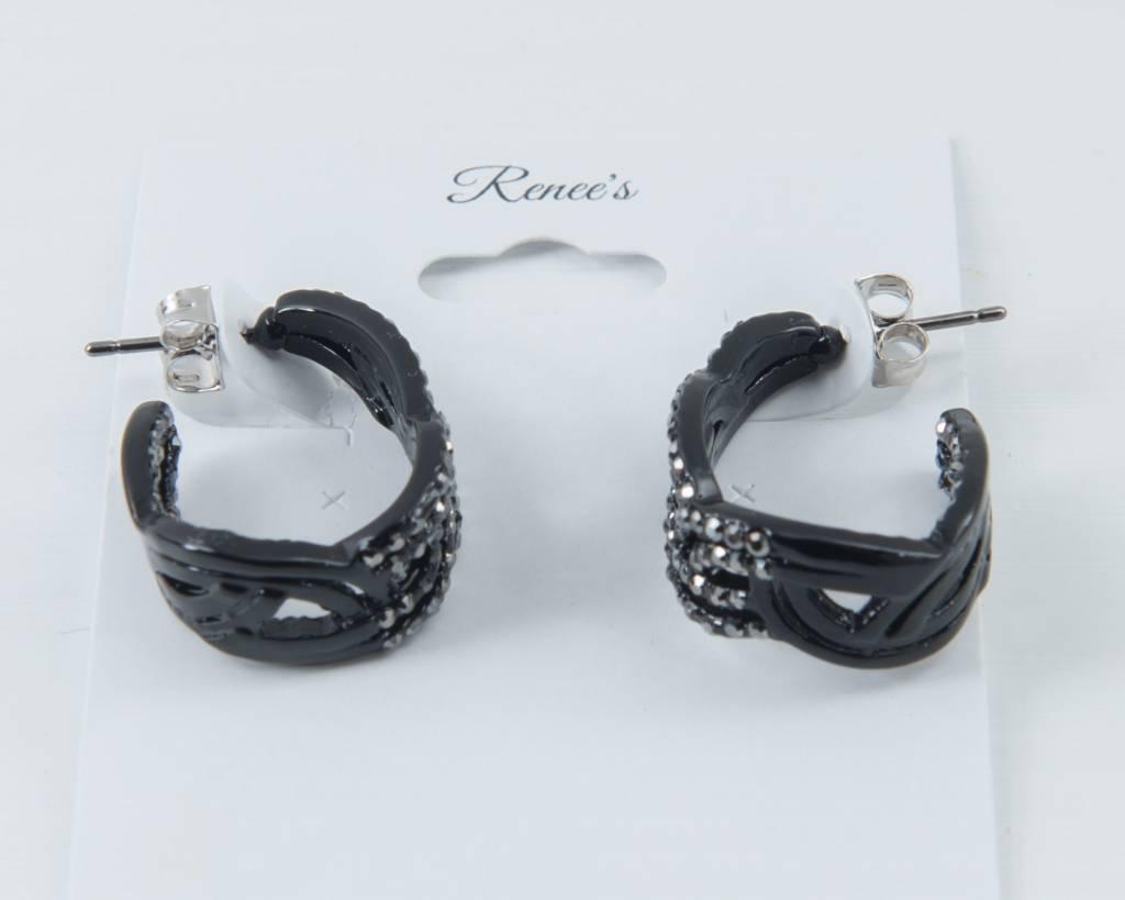 Theia Earrings 24142E0048-MoroccanCZHoopEarringsBlack