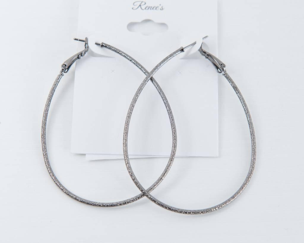 Theia Earrings 22103E0015-DiamondDustTearDropHoopsGunMetal