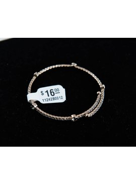 Theia Bangles 11242B0012-ClrCZBangle5BlackAccentsAntiqueGold