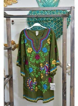 Sister Mary Dress NINA-LS/DressW/FloralEmbroidery