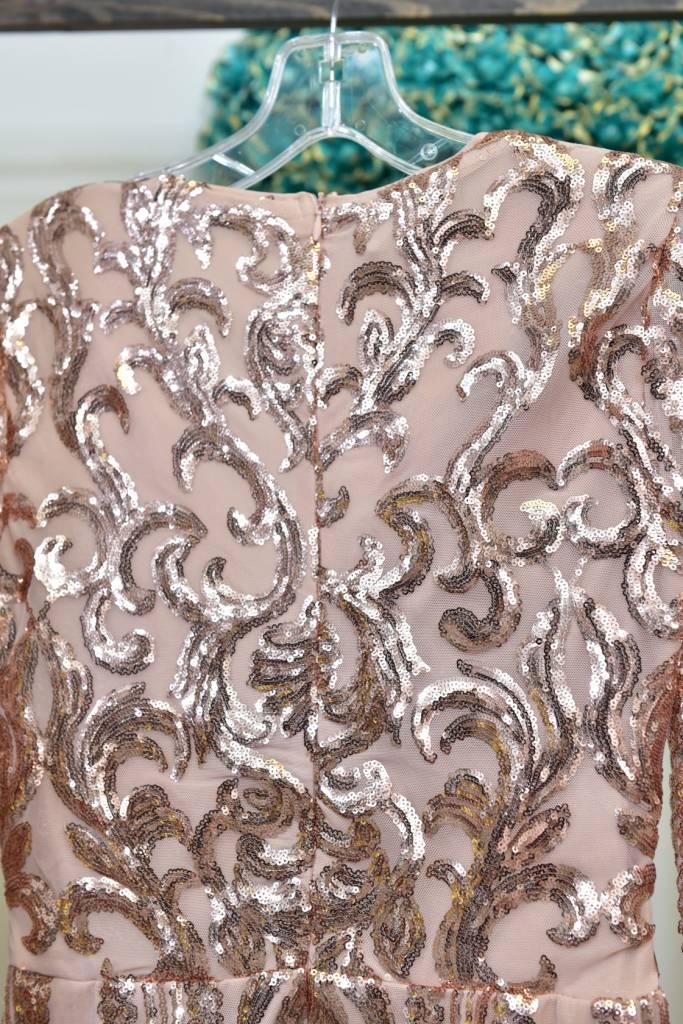 Nude Sequin Mini Dress - DRS9177