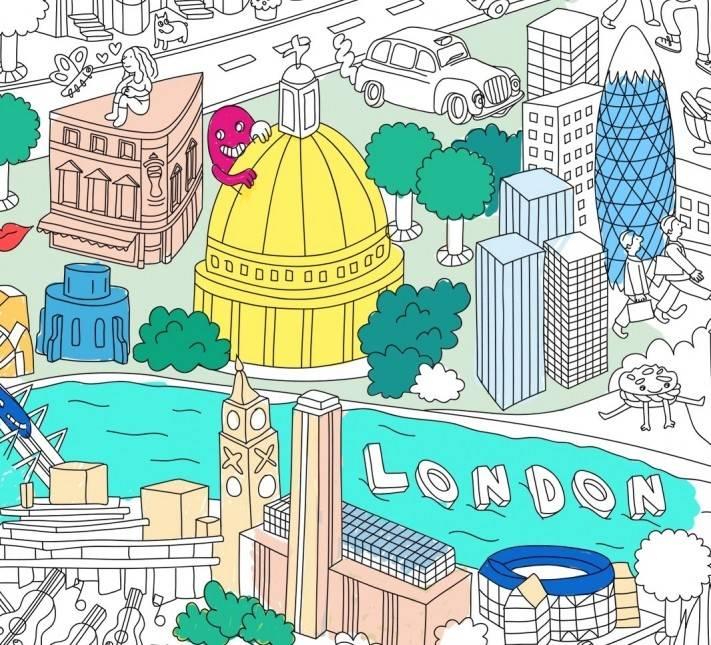 OMY AFFICHE À COLORIER LONDON