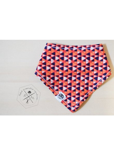 Petit monstre couture BAVOIR - TRIANGLES MARINE/ORANGE