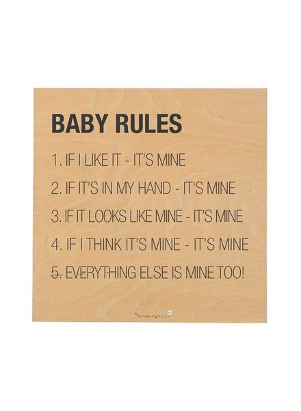 Bloomingville TABLEAU - BABY RULES