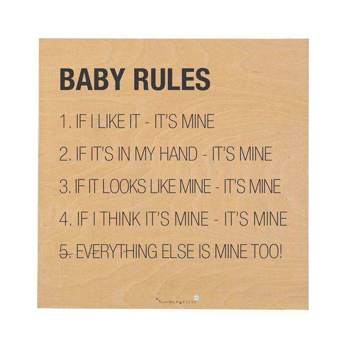 Bloomingville TABLEAU - BABY RULES