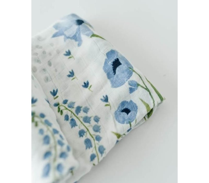 MOUSSELINE BAMBOU - BLUE WINDFLOWER
