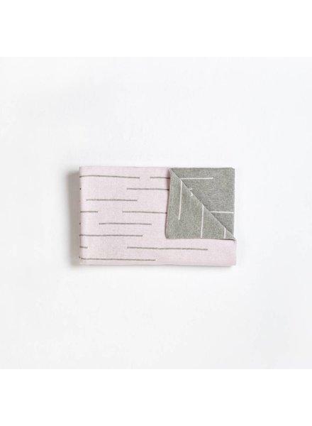 FIRST by Petit Lem COUVERTURE TRICOT - GRIS/ROSE PÂLE