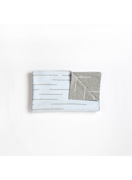 FIRSTS by Petit Lem COUVERTURE TRICOT - GRIS/BLEU PÂLE