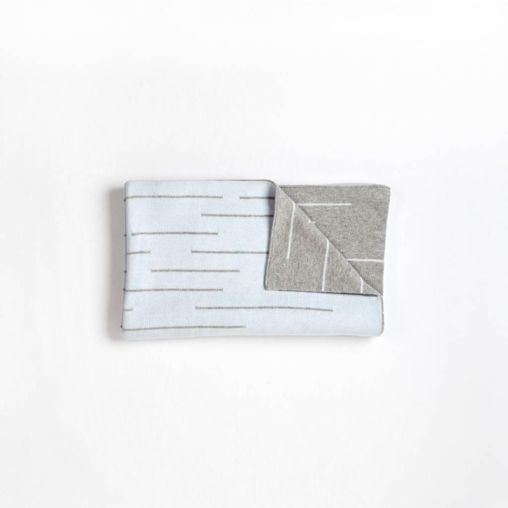 FIRST by Petit Lem COUVERTURE TRICOT - GRIS/BLEU PÂLE