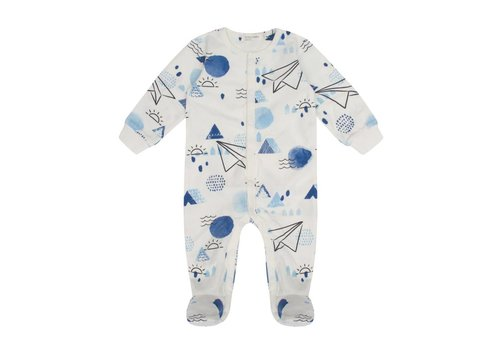 Miles Baby Brand PYJAMA AVION DE PAPIER - CRÈME/BLEU