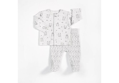FIRSTS by Petit Lem ENS. 2 PIÈCES BABY BEAR - GRIS
