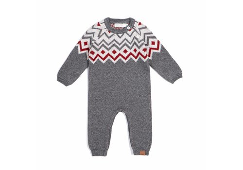 Miles Baby Brand ROMPER TRICOT HOLIDAY - GRIS