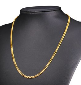 18K Gold Plated 3MM Cuban Link Necklace - 22""