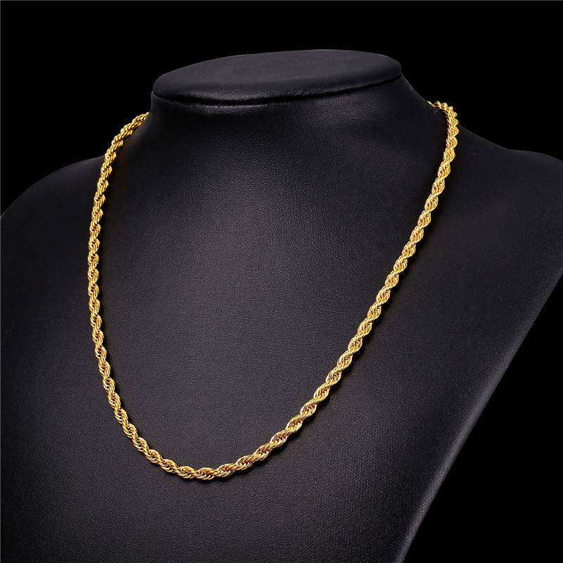 18K Gold Plated 3MM Rope Necklace - 22""