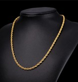 18K Gold Plated 3MM Rope Necklace - 26""