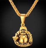 "18K Gold Plated Buddha Pendant Necklace - 22"""