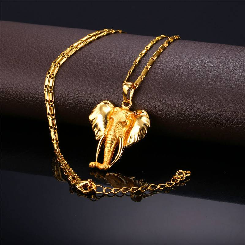 "18K Gold Plated Elephant Pendant Necklace - 22"""