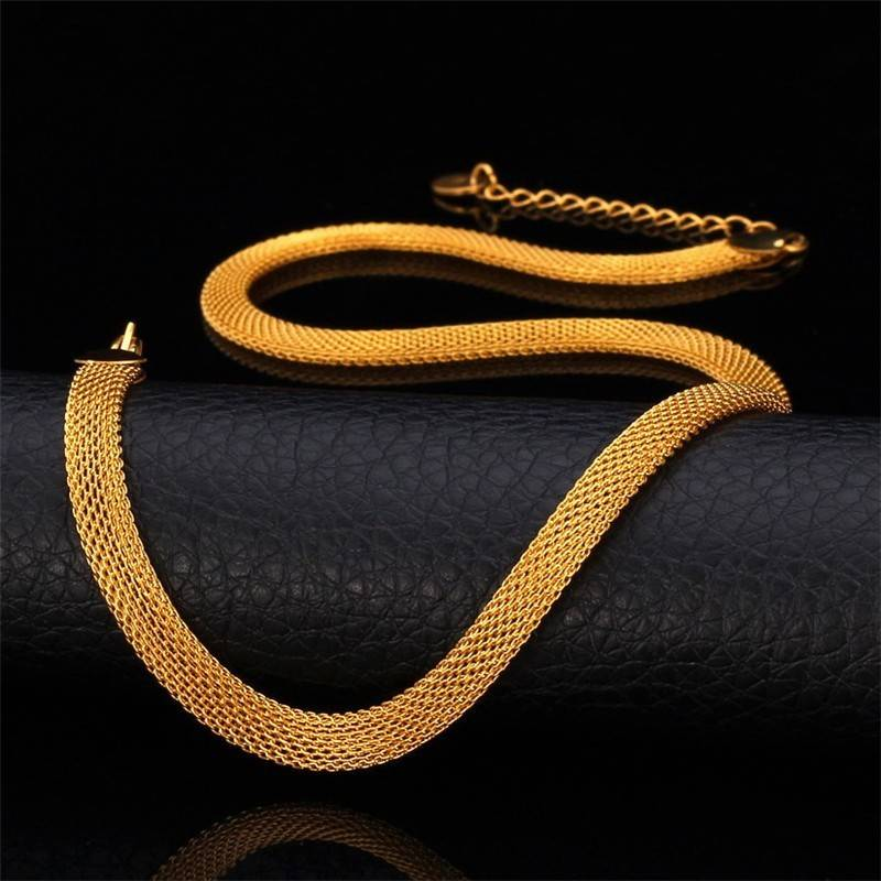18K Gold Plated Herringbone Necklace - 26""