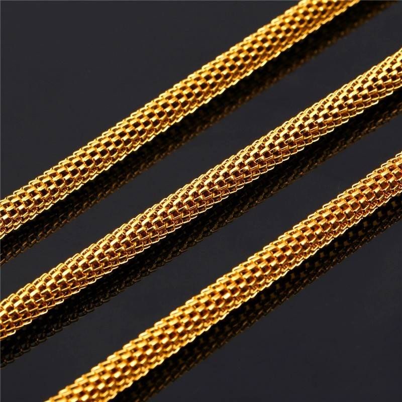 18K Gold Plated Round Herringbone Necklace - 22""