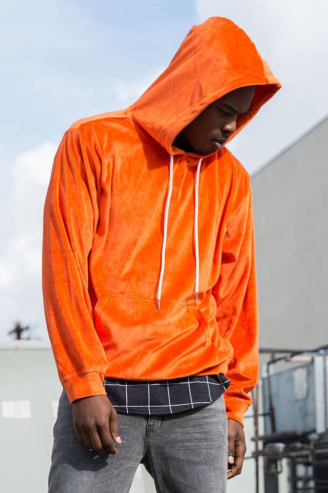 ELWOOD - Bright Orange Velour Hoodie