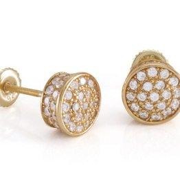 KING ICE - 14K Gold 3D Rounded Earrings