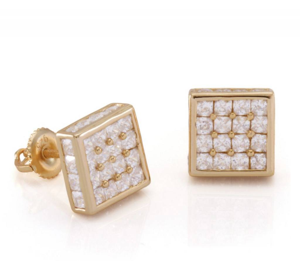 KING ICE - 14K Gold CZ Square Earrings